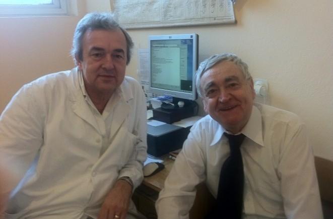 Prof. Gúth s riaditeľom Stanislavom Štepkom
